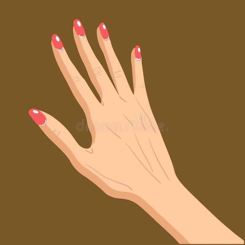Härlig kvinnlig hand, upp gest som isoleras på brun bakgrund stock illustrationer