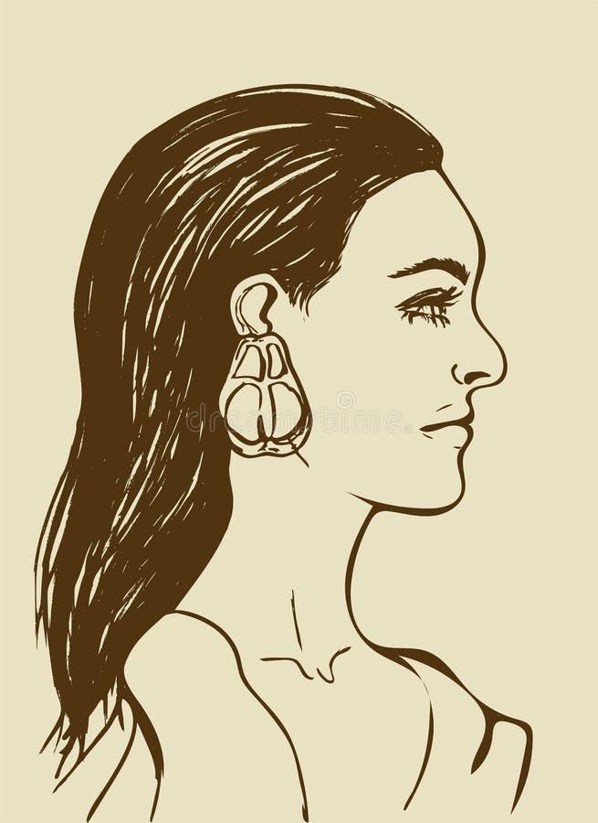 härlig lång kvinna för svart hår Kvinnlig framsida i profil Modesymbol för skönhetsalong Profil av den sinnliga unga flickan royaltyfri illustrationer