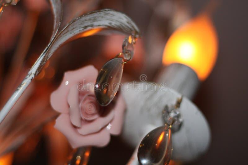 Härlig lampa med blommadekoren royaltyfria foton