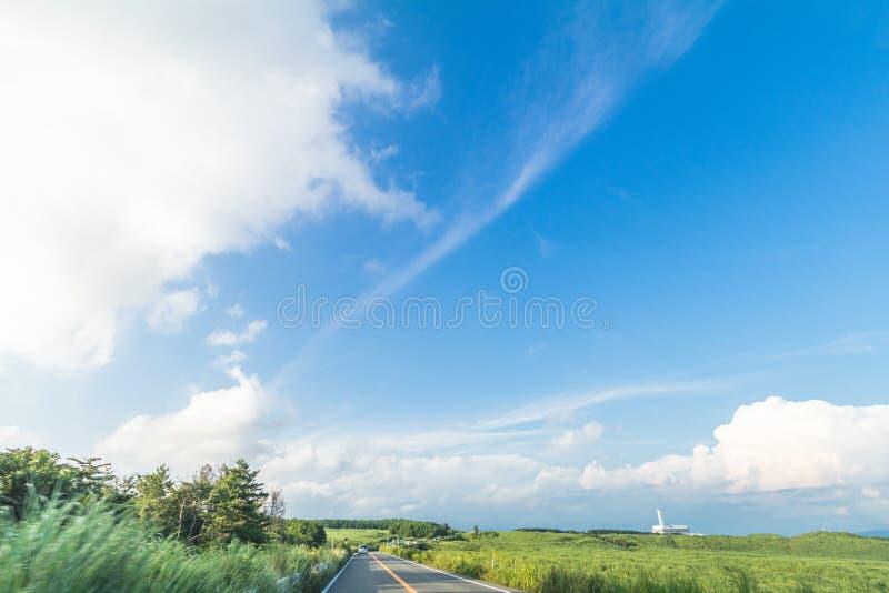 Härlig landskapbergsikt och en landsväg i vår royaltyfria bilder