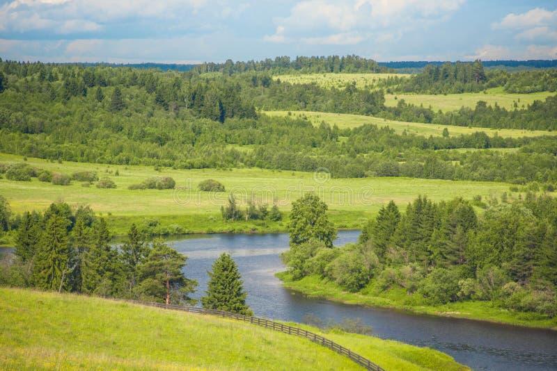 Härlig landskapfloddelta med ängar och skogen på en solig dag royaltyfri foto