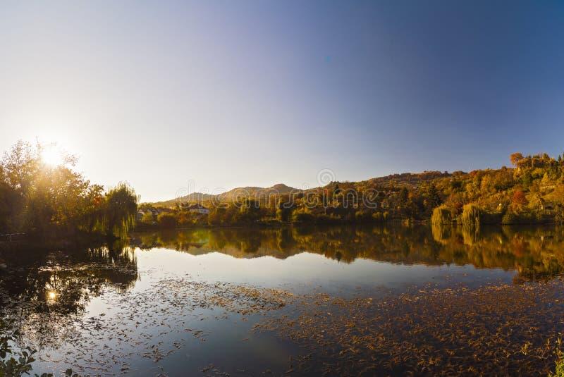 Härlig landskaphöstskog och sjö arkivbild