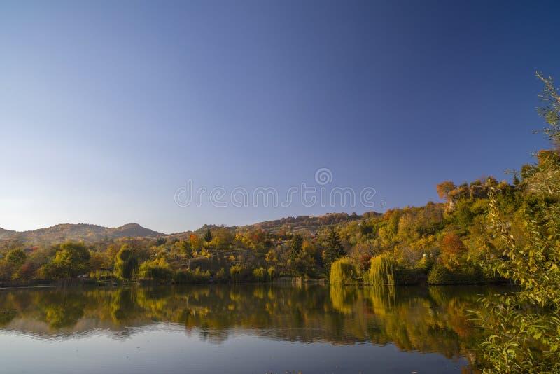 Härlig landskaphöstskog och sjö arkivfoton