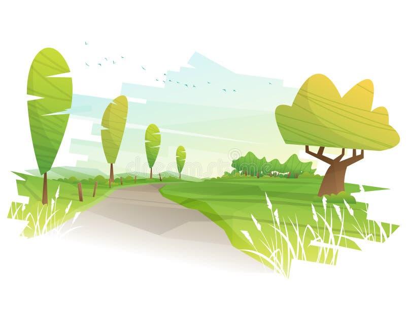 Härlig lantlig grön fältlandskapbakgrund med morgonbygdsikt royaltyfri illustrationer
