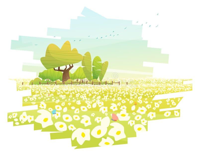 Härlig lantlig landskapbakgrund med blommafältet royaltyfri illustrationer