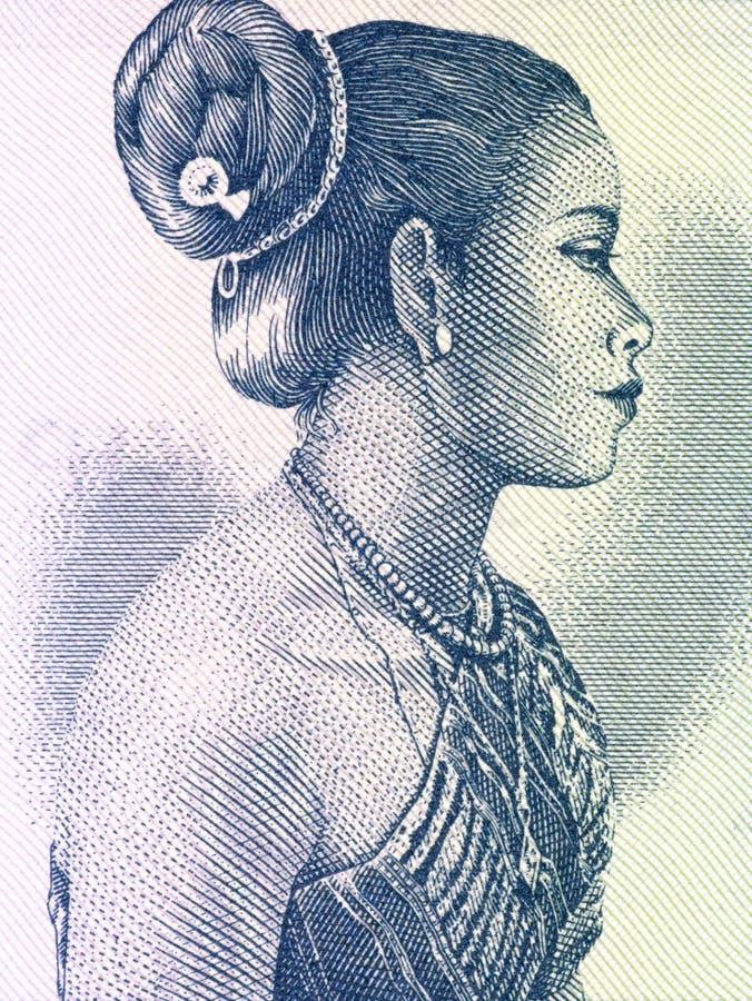 härlig laos kvinna arkivbild