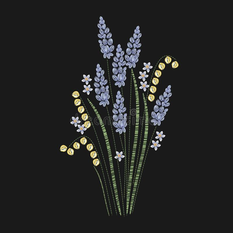Härlig lavendel som broderas med lila- och gräsplanhäftklammer på svart bakgrund Ursnygg blom- broderidesign royaltyfri illustrationer