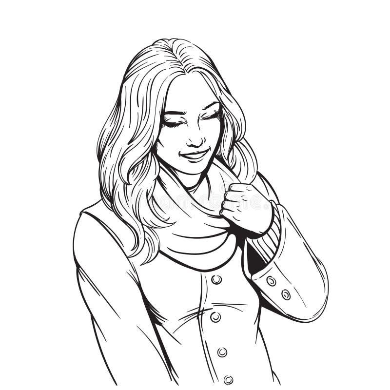 Härlig le flicka i vuxen färgläggningsida för halsduk royaltyfria bilder
