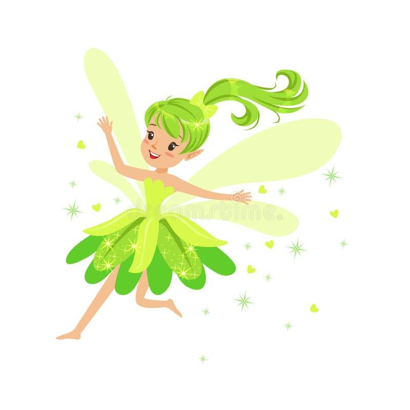 Härlig le grön felik flicka som flyger den färgrika illustrationen för vektor för tecknad filmtecken royaltyfri illustrationer