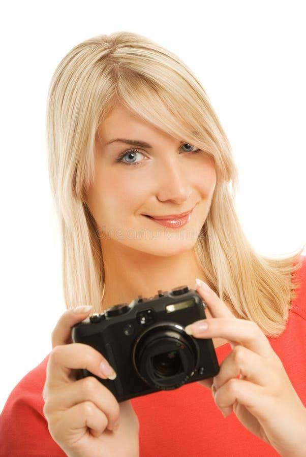 härlig le kvinna royaltyfria bilder