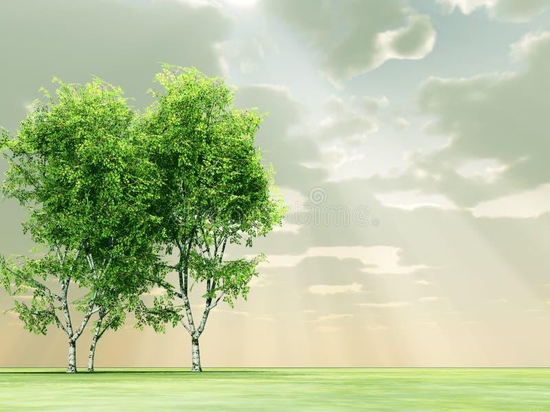 Härlig liggande med trees royaltyfri illustrationer