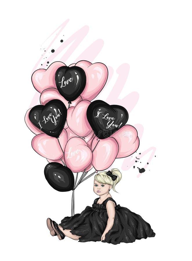 Härlig liten flicka i en klänning och med hjärta-formade ballonger Att charma behandla som ett barn Valentin dag, förälskelse, ku royaltyfri illustrationer