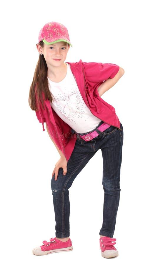 Härlig liten flicka i sportkläder arkivfoto
