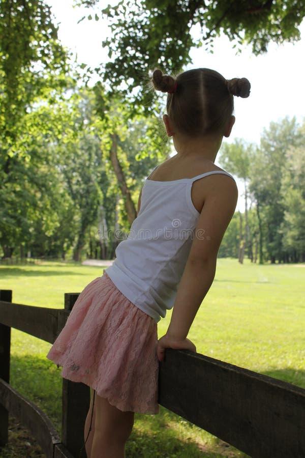 Härlig liten flicka som poserar i en mini- kjol royaltyfria bilder