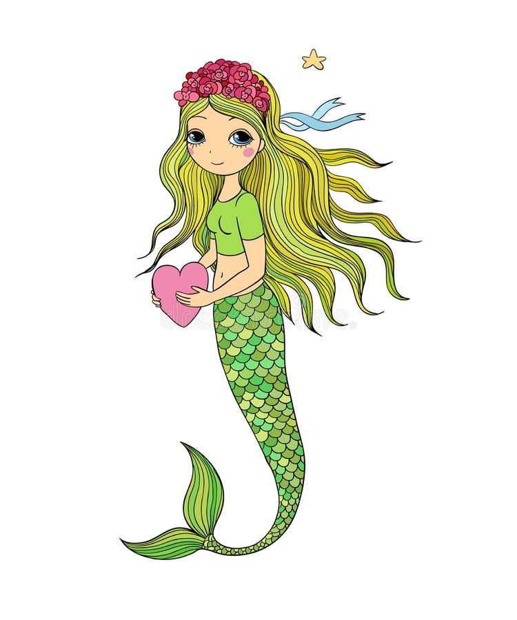 härlig liten mermaid siren abstrakt tema för abstraktionbakgrundshav royaltyfri illustrationer