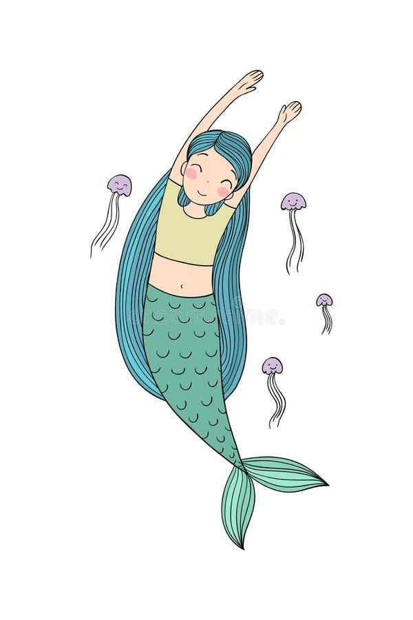 Härlig liten sjöjungfru och manet siren abstrakt tema för abstraktionbakgrundshav royaltyfri illustrationer