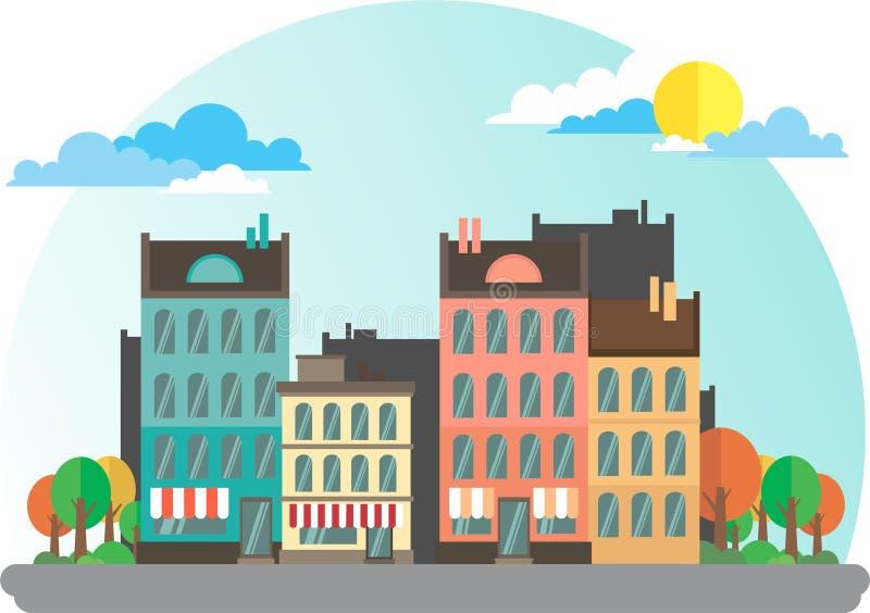 Härlig liten stad royaltyfri illustrationer