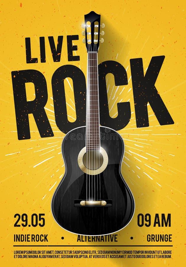Härlig Live Classic Rock Music Poster för vektorillustration mall För konsertbefordran i klubbor, stänger, barer och offentligt s royaltyfri illustrationer
