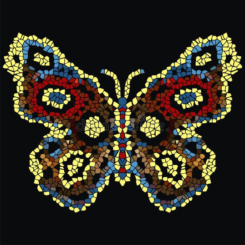 Härlig, ljus luftig fjärilsmosaik Trendig dekorativ modell royaltyfri illustrationer