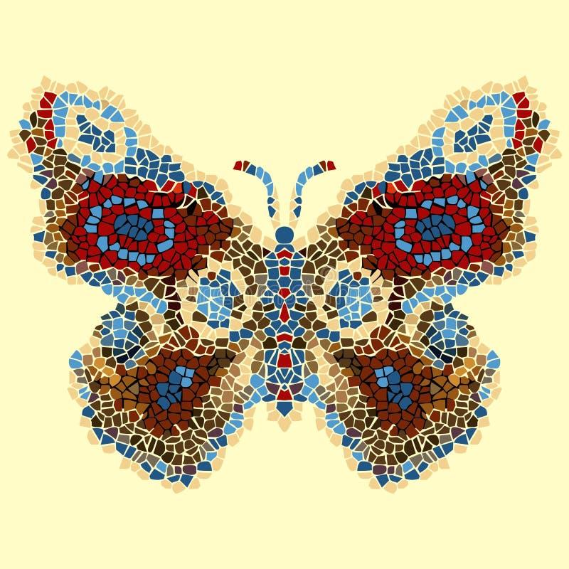 Härlig, ljus luftig fjärilsmosaik Trendig dekorativ modell vektor illustrationer