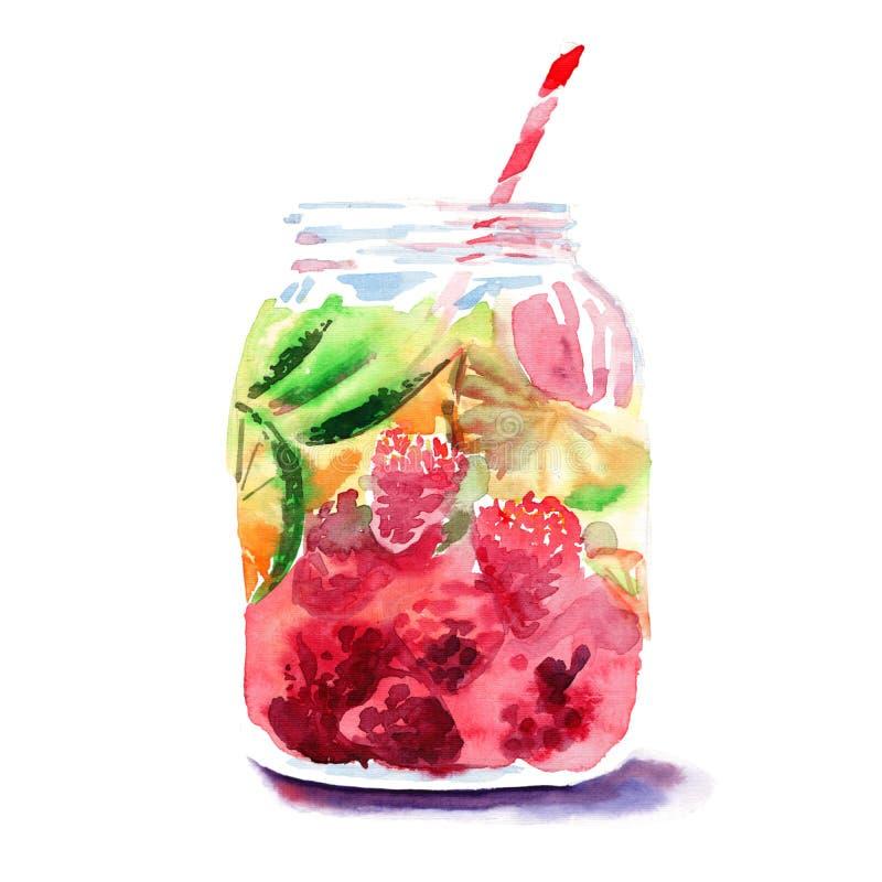 Härlig ljus ny smaklig saftig läcker älskvärd gullig färgrik detoxbank med röda mullbärsträd, mogna gräsplanlimefrukter och apels vektor illustrationer