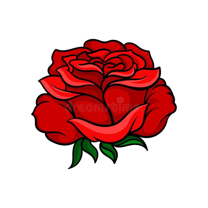 Härlig ljus röd ros Tatueringkonstverk Natur- och botaniktema Vektor för vykort, t-skjorta tryck eller retro bröllop royaltyfri illustrationer