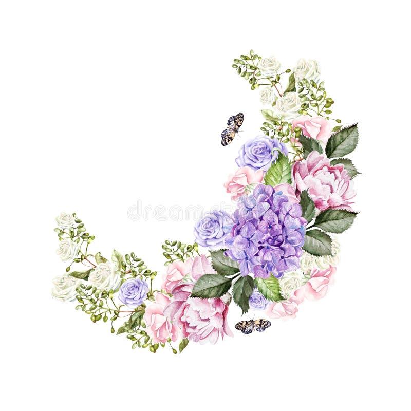 Härlig ljus vattenfärgkrans med rosor, pion, hudrangea och fjärilar royaltyfri illustrationer