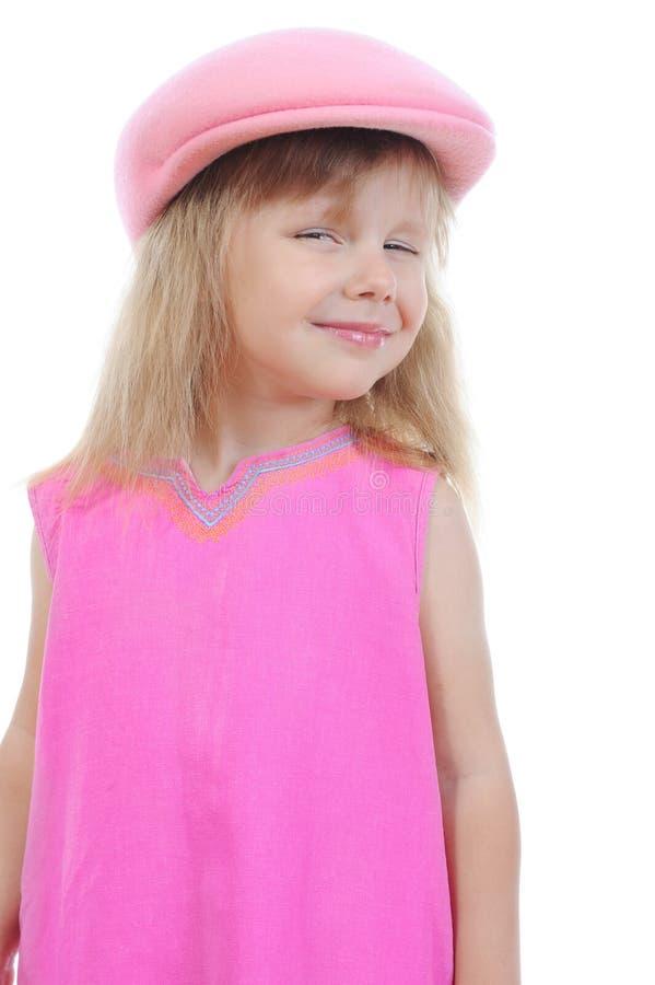härlig lockflicka little pink fotografering för bildbyråer