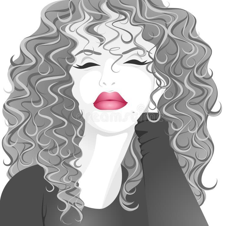 härlig lockig flicka stock illustrationer