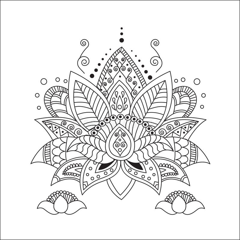 härlig lotusblomma Prydnadvektoryoga vektor illustrationer