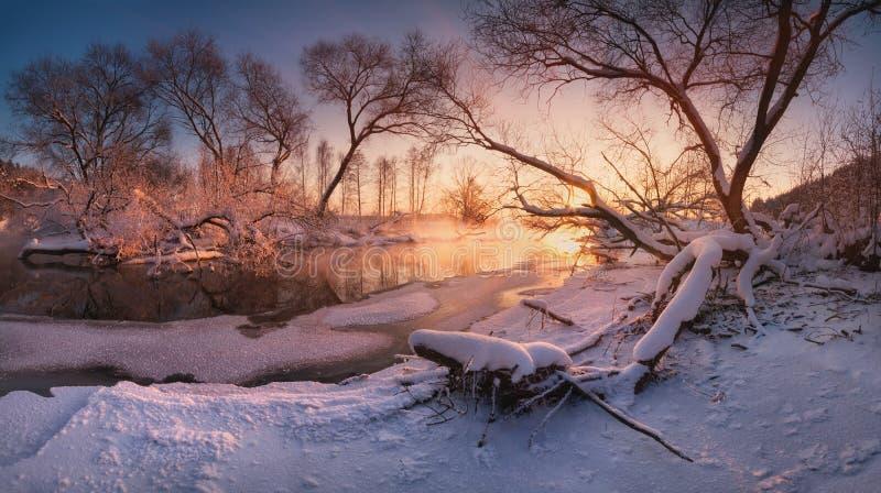 Härlig lugna afton på den lilla vinterfloden som omges, genom att hänga över träd Vinterlandskap med en djupfryst flod arkivfoton