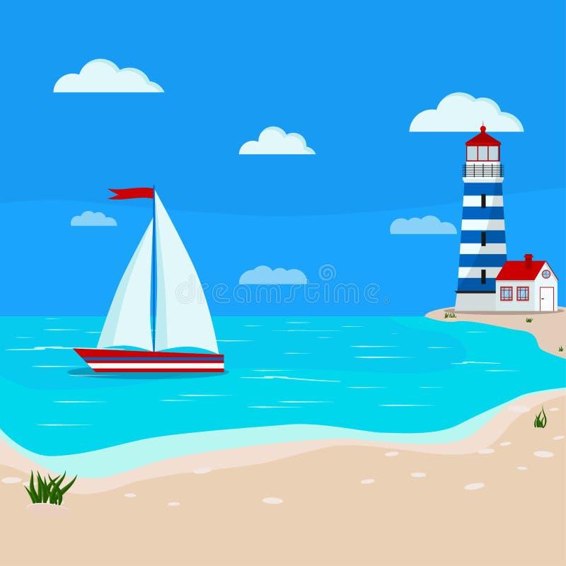 Härlig lugna seascape: blått hav, moln, sandkustlinje med gräs, segelbåt, fyr royaltyfri illustrationer