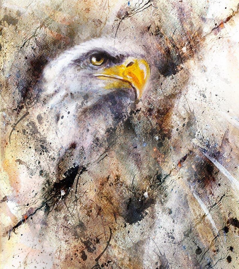 Härlig målning av örnen på en abstrakt bakgrund, färg med fläckstrukturer vektor illustrationer