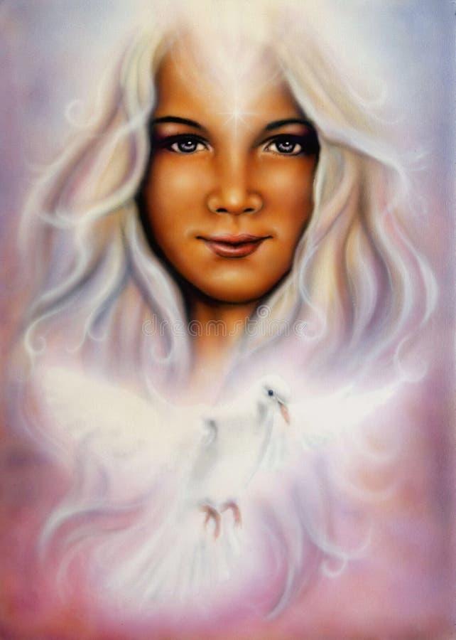 Härlig målning av en ung kvinna med en flygduva arkivbild