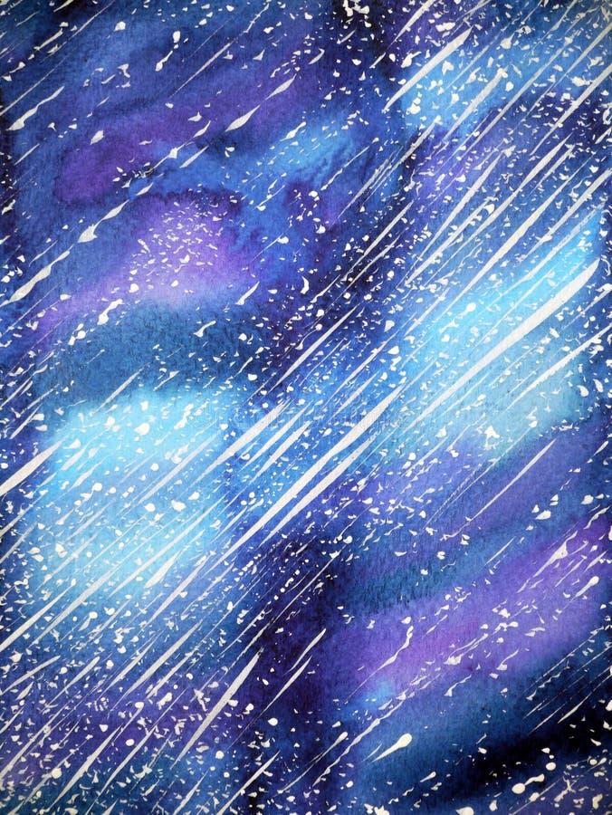 Härlig målning för universumbakgrundsvattenfärg på pappers- illustration royaltyfri illustrationer