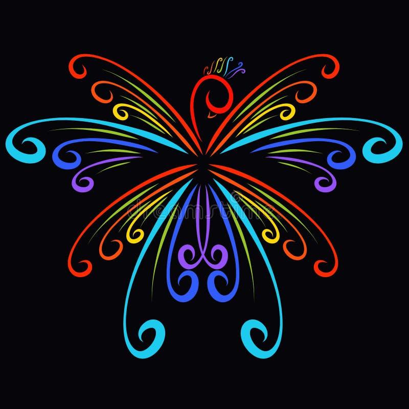 Härlig magisk fågel av krullning, färger av regnbågen royaltyfri illustrationer