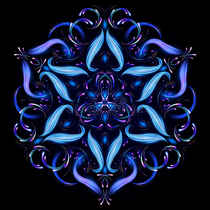 Härlig magisk mandala Abstrakt fractal med en mandala som göras av lysande linjer Mystisk avkopplingmodell Yogamall stock illustrationer