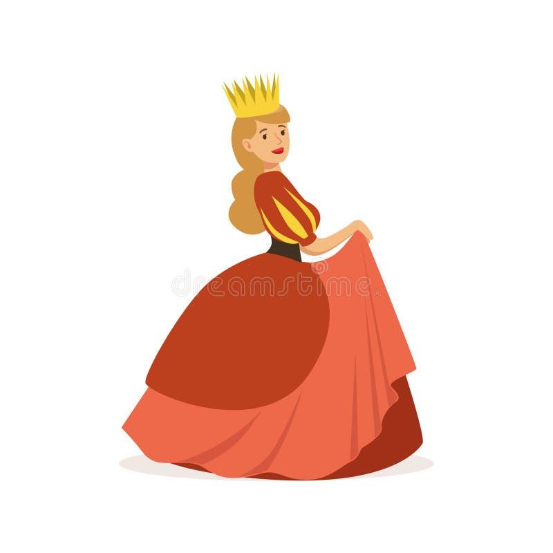 Härlig majestätisk drottning eller prinsessa i röd klänning och guld- krona, färgrika saga eller europeiskt medeltida tecken royaltyfri illustrationer