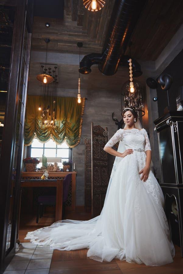Härlig makeup för brudståendebröllop, frisyr arkivfoto