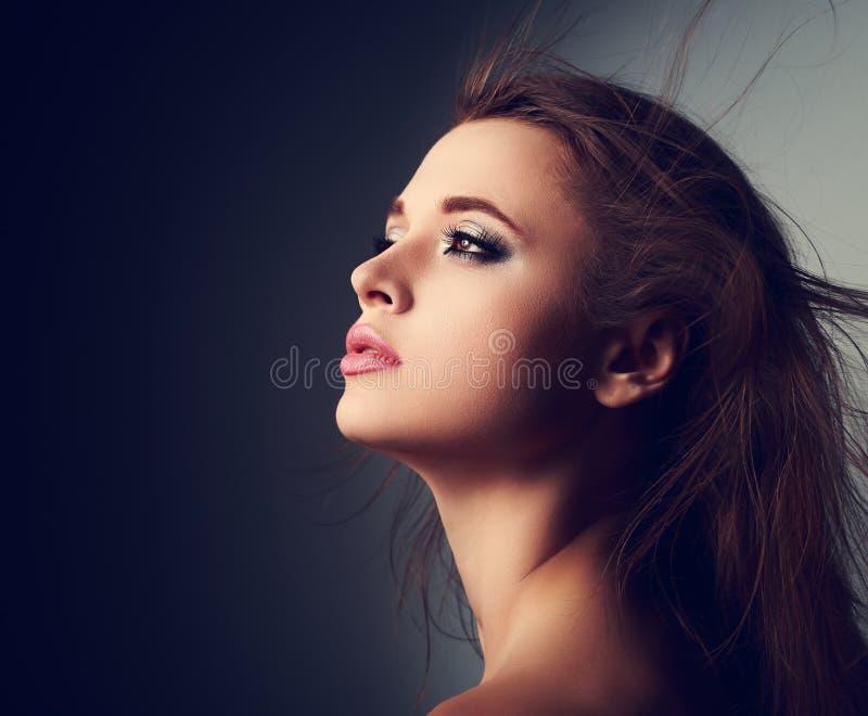 Härlig makeupkvinnaprofil med långt hår som ser upp med ho arkivbild