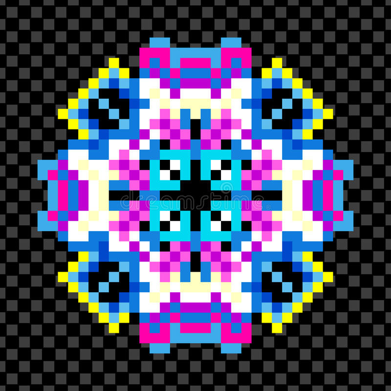 Härlig mandala av PIXEL på en svart bakgrund vektor illustrationer