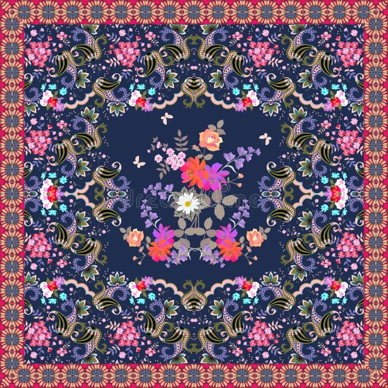 Härlig matta med den lyxiga buketten av blommor och dekorativ ram med paisley Indier perser, turkiska bevekelsegrunder sjal royaltyfri illustrationer