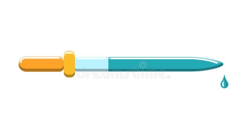 H?rlig medicinsk exponeringsglaspipett med en droppe f?r indrypning av droger i ?gonen p? en vit bakgrund ocks? vektor f?r coreld stock illustrationer