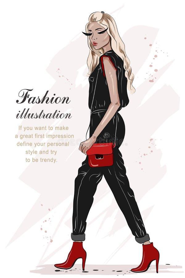 Härlig modeflickahand som dras med svarta och röda färger Stilfull kvinna i modekläder skissa Full kroppkvinnastående royaltyfri illustrationer