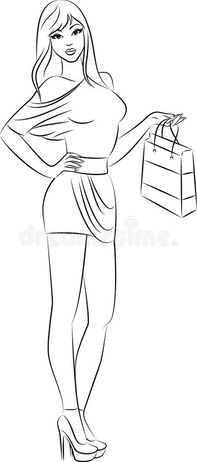 härlig modeflickashopping stock illustrationer