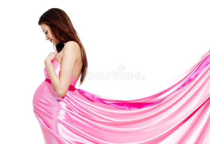 härlig modegravid kvinna royaltyfria bilder