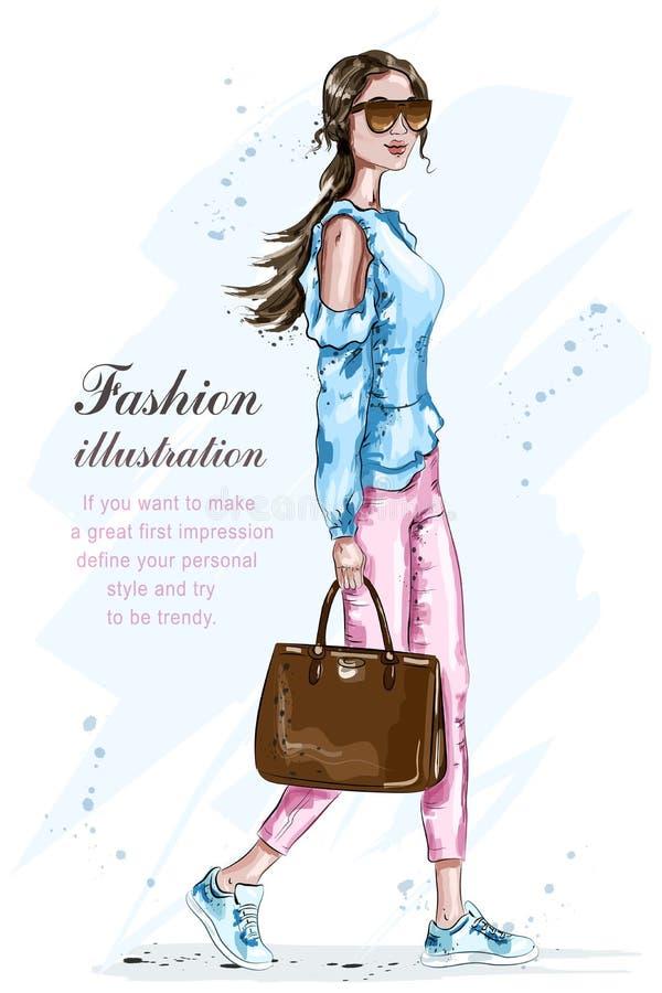 härlig modekvinna för påse Stilfull flicka i modekläder Sommarmodeblick skissa stock illustrationer