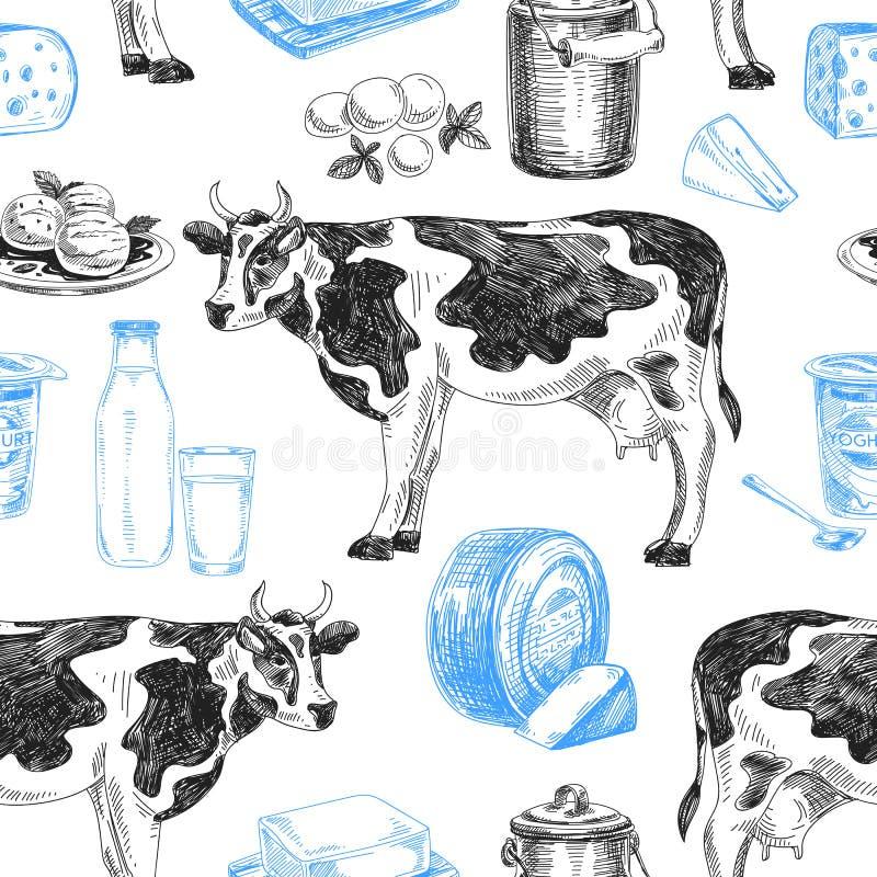 Härlig modell för mejeriprodukter för vektor hand dragen sömlös royaltyfri illustrationer