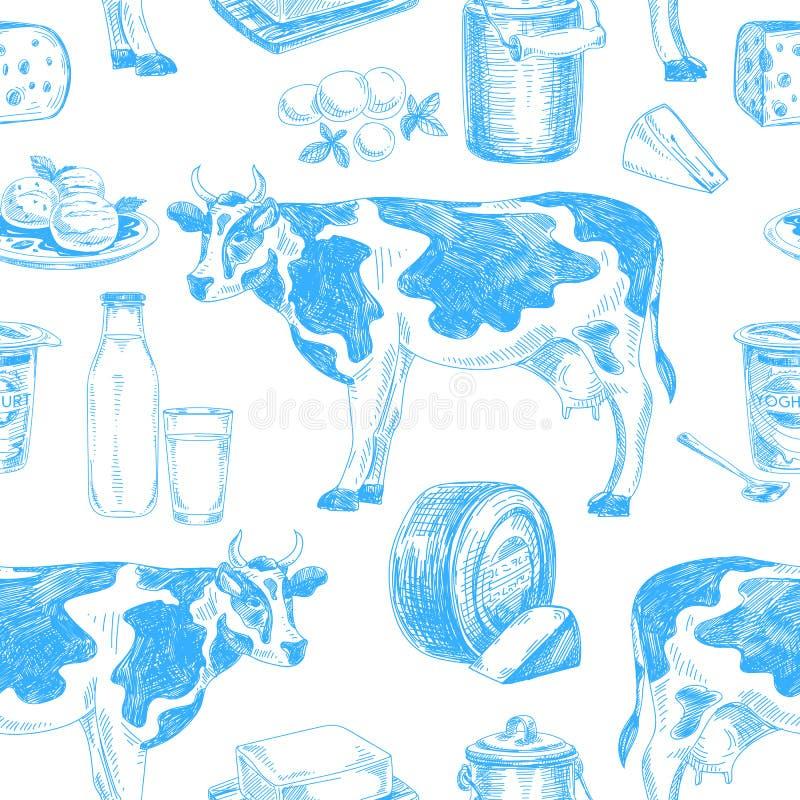 Härlig modell för mejeriprodukter för vektor hand dragen sömlös vektor illustrationer