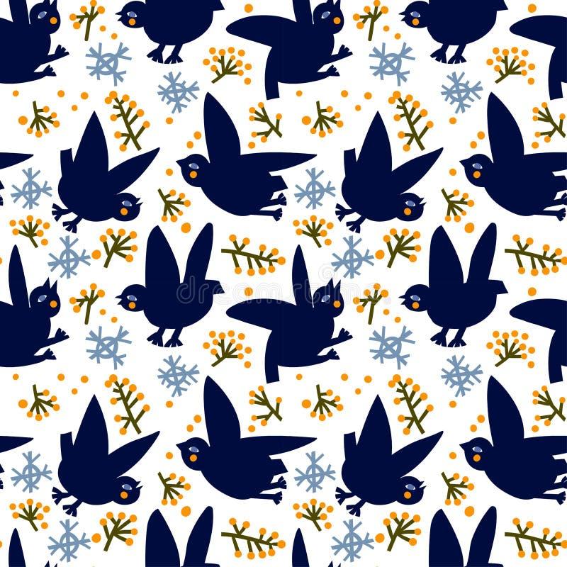 Härlig modell med fåglar och rönnfilialer på vit snö och stora snöflingor, royaltyfri illustrationer